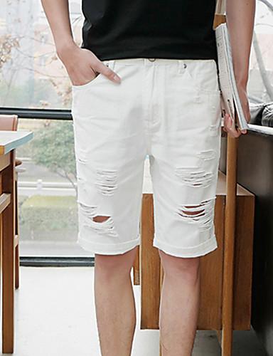 Homens Reto Delgado Shorts Jeans Calças - Sólido, rasgado