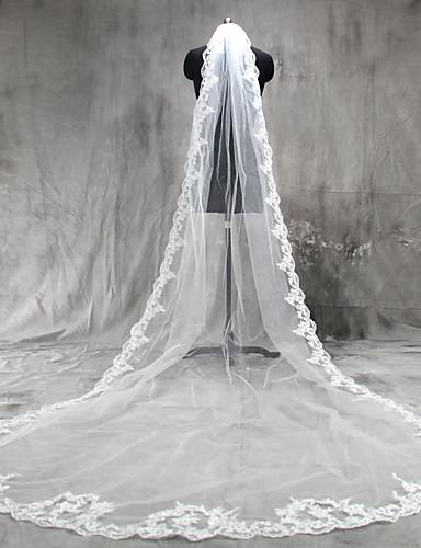 Uma Camada Borda com aplicação de Renda Véus de Noiva Véu Catedral Com Apliques Tule / Clássico