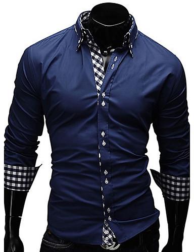 Erkek Pamuklu Alttan Düğmeli Yaka Gömlek Desen, Ekose Büyük Bedenler / Uzun Kollu