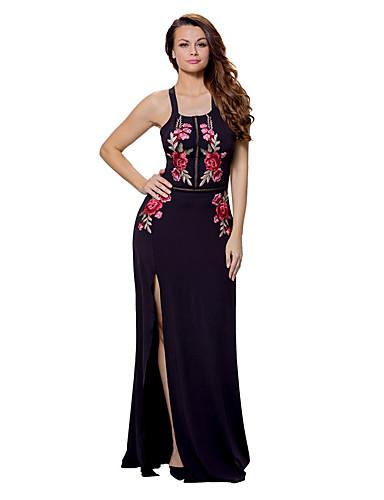 여성용 바디콘 드레스 - 플로럴 높은 밑위 맥시 딥 U
