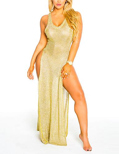 여성용 비치 바디콘 드레스 - 솔리드, 스플리트 높은 밑위 맥시 V 넥