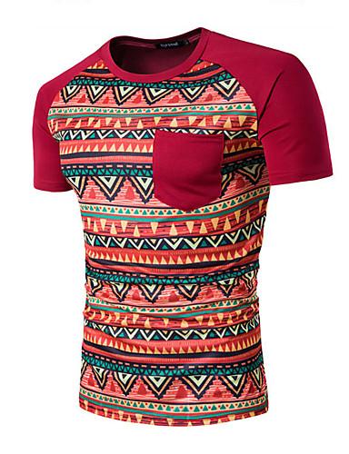 Herren Solide Druck Einfach Lässig/Alltäglich T-shirt,Rundhalsausschnitt Sommer Kurzarm Baumwolle