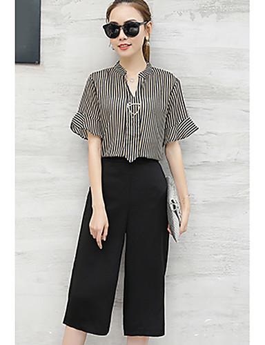 여성 줄무늬 스탠드 짧은 소매 셔츠,심플 캐쥬얼/데일리 면