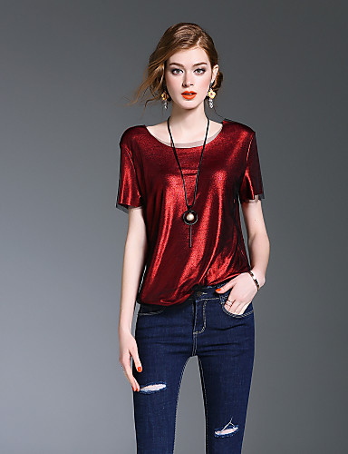 여성 솔리드 라운드 넥 짧은 소매 셔츠,귀여운 데이트 캐쥬얼/데일리 폴리에스테르 봄 여름 중간