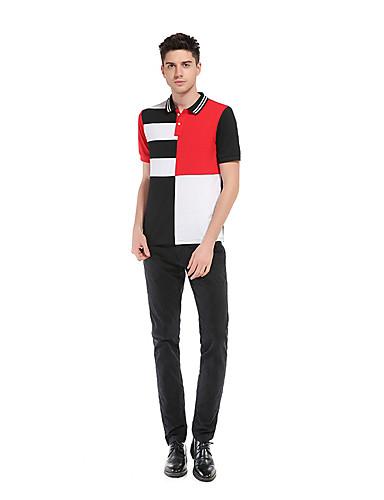 남성 프린트 컬러 블럭 셔츠 카라 짧은 소매 Polo,심플 데이트 캐쥬얼/데일리 면 봄 여름 얇음