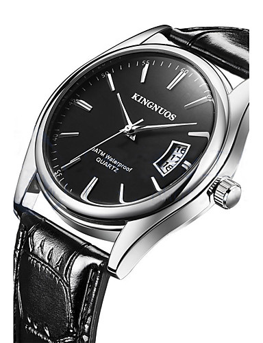 Kingnuos men 39 s casual watch fashion watch wrist watch quartz leather black brown calendar for Kingnuos watch