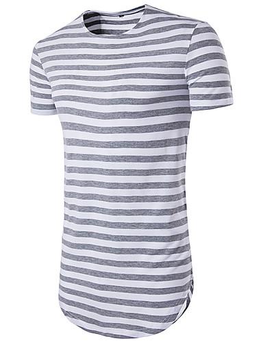 voordelige Heren T-shirts & tanktops-Heren Standaard Print T-shirt Sport Gestreept Ronde hals Slank Rood / Korte mouw / Zomer / Lang