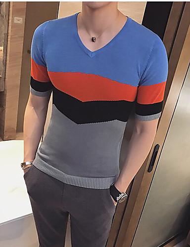 남성 컬러 블럭 V 넥 짧은 소매 티셔츠,심플 캐쥬얼/데일리 면