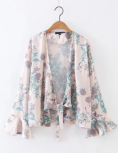 여성 프린트 홀터 넥 긴 소매 셔츠,단순한 섹시 스트리트 쉬크 캐쥬얼/데일리 데이트 실크 면 여름 중간 얇음