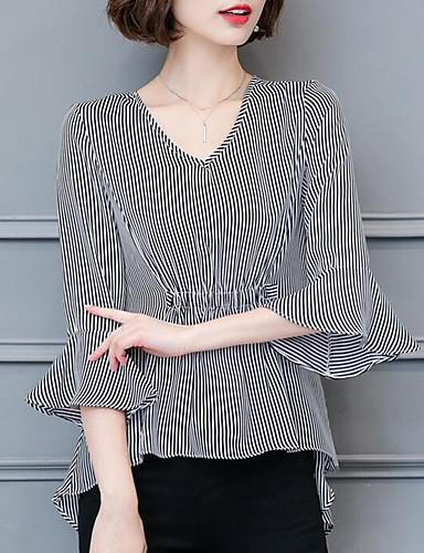 여성 줄무늬 V 넥 ½ 길이 소매 블라우스,심플 캐쥬얼/데일리 아크릴 여름 중간