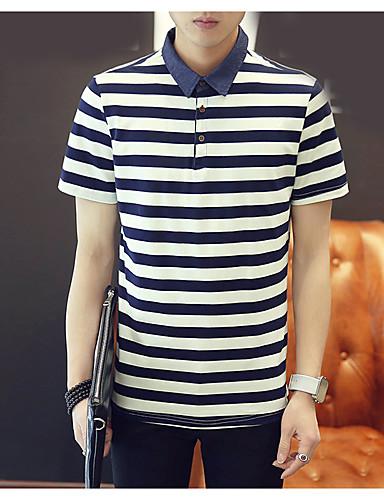 남성 줄무늬 스퀘어 넥 짧은 소매 티셔츠,심플 캐쥬얼/데일리 면