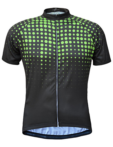 cheap Cycling Clothing-JESOCYCLING Men's Short Sleeve Cycling Jersey - Green Yellow Blue Bike Jersey Top UV Resistant Breathable Quick Dry Sports 100% Polyester Mountain Bike MTB Road Bike Cycling Clothing Apparel