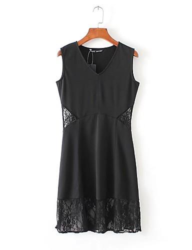 여성 루즈핏 시프트 드레스 데이트 캐쥬얼/데일리 단순한 스트리트 쉬크 솔리드,라운드 넥 미디 무릎길이 민소매 실크 면 여름 가을 중간 밑위 약간의 신축성 중간