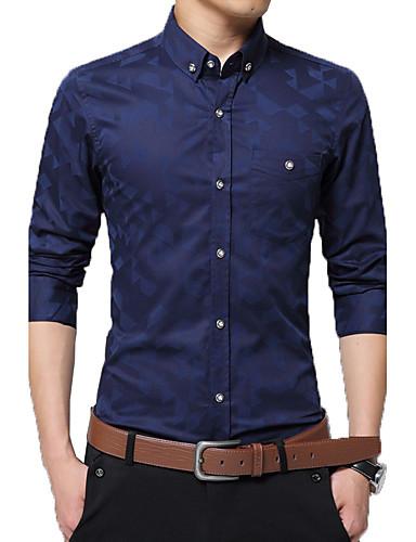 Homens Camisa Social - Trabalho Retalhos / Jacquard Algodão / Por favor, sempre escolha um número maior que o seu número normal. / Manga Longa