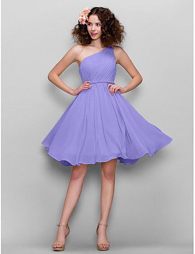 cheap Bridesmaid Dresses-A-Line One Shoulder Knee Length Chiffon Bridesmaid Dress with Side Draping by LAN TING BRIDE®