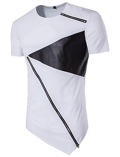 Homens Camiseta - Esportes Punk & Góticas Moda de Rua Estampa Colorida Algodão Decote Redondo Delgado Preto & Branco
