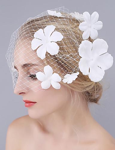 Uma Camada Corte da borda Véus de Noiva Véu Ruge Com Flor de Cetim Grade