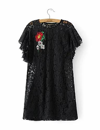 여성 루즈핏 드레스 데이트 캐쥬얼/데일리 심플 스트리트 쉬크 솔리드 플로럴,라운드 넥 무릎 위 짧은 소매 실크 면 여름 가을 중간 밑위 약간의 신축성 중간