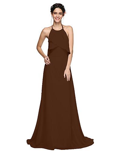 A-Linie Lodičkový Dlouhá vlečka Šifón Šaty pro družičky s Sklady podle LAN  TING BRIDE®   Krásná záda b1cc1e616bd
