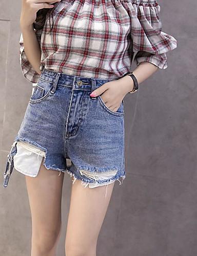 Damen Einfach Hohe Hüfthöhe Mikro-elastisch Kurze Hosen Breites Bein Hose Solide