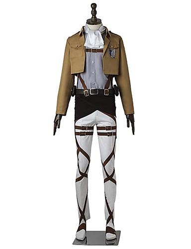 povoljno Anime kostimi-Inspirirana Napad na Titanu levi ackerman Anime Cosplay nošnje Japanski Cosplay Suits Jednobojni Dugih rukava Top / Hlače / Pregača Za Muškarci / Žene