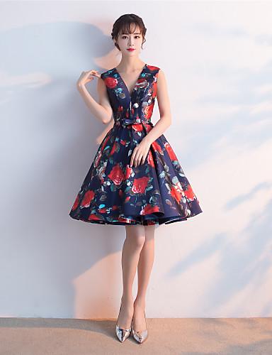 Plesové šaty v-krku krátké / mini krajky koktejlové party šaty s křídlem / stuhou