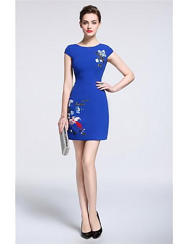 Damen Hülle Kleid-Ausgehen Lässig/Alltäglich Niedlich Solide Stickerei Rundhalsausschnitt Übers Knie Kurzarm Polyester Frühling Sommer