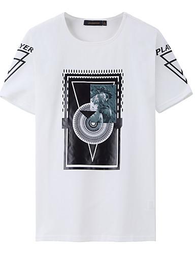 남성 문자 라운드 넥 짧은 소매 티셔츠,단순한 활동적 스포츠 데이트 캐쥬얼/데일리 면 스판덱스 여름 중간