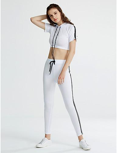 女性用 ショート Tシャツ ソリッド パンツ