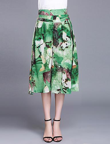 Mulheres Tamanhos Grandes Cintura Alta Perna larga / Chinos Calças Estampado / Verão / Padrões florais