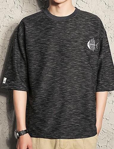 남성 솔리드 프린트 라운드 넥 티셔츠,단순한 스포츠 캐쥬얼/데일리 면 얇음