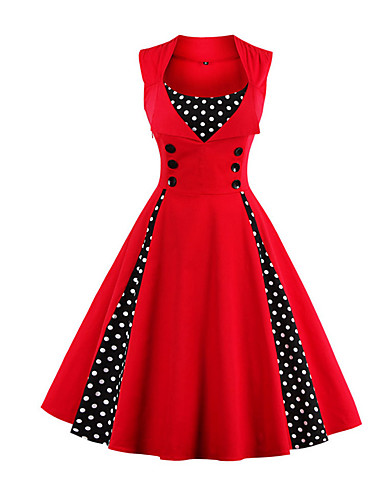 1268b737e16 Women s Plus Size Party Holiday Going out Vintage 1950s A Line Dress -  Polka Dot Red
