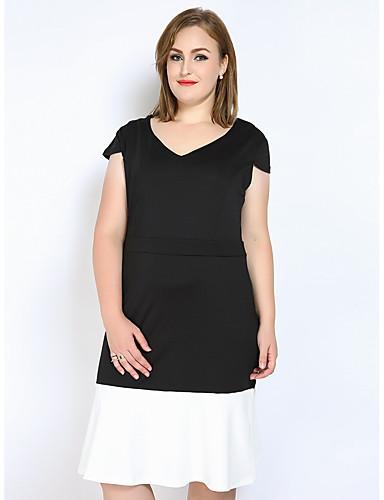 voordelige Grote maten jurken-Dames Grote maten Vintage A-lijn / Recht / Schede Jurk - Kleurenblok / Patchwork, Ruche V-hals Midi