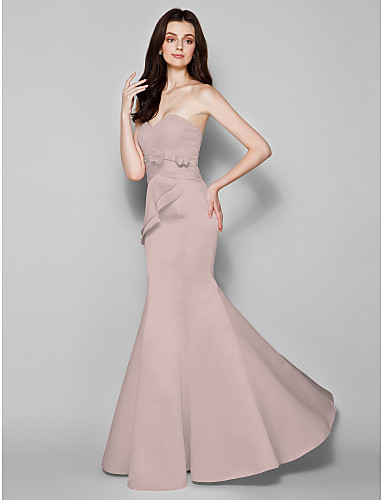 Mermaid / Trumpet Sweetheart Neckline Floor Length Lace / Satin Bridesmaid Dress with Bow(s) / Lace / Criss Cross by LAN TING BRIDE®