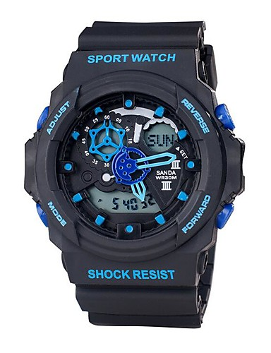 Men's Sport Watch / Smartwatch / Wrist Watch Japanese LED / Dual Time Zones / Fitness Trackers Silicone Band Fashion Black / White / Blue / Noctilucent