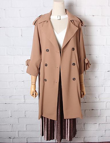 여성 솔리드 스탠드 긴 소매 코트,단순한 캐쥬얼/데일리 긴 면 가을