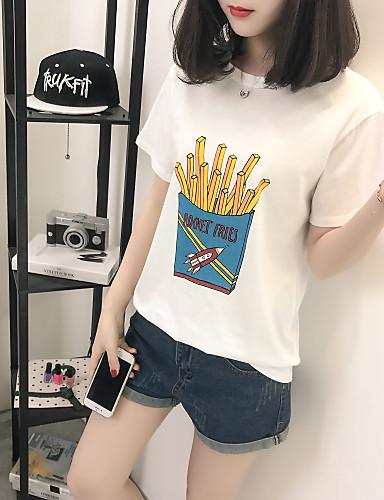 여성용 솔리드 / 프린트 티셔츠, 단순한 데이트 면 / 여름