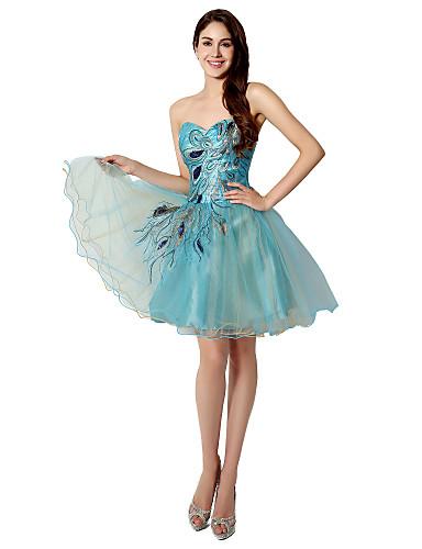 De Baile Justo & Evasê Decote Princesa Curto / Mini Tule Coquetel Vestido com Bordado de LAN TING Express