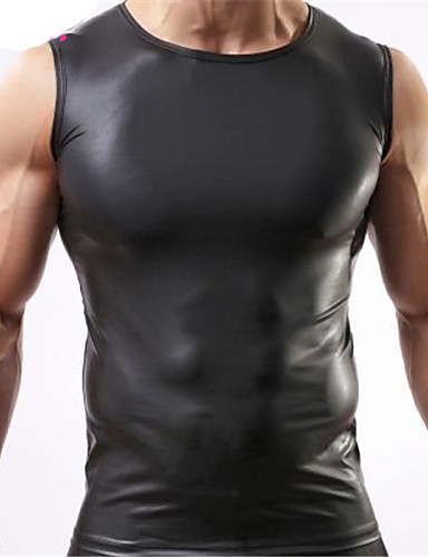 Faux Leather Tank Top - Solid Colored Round Neck