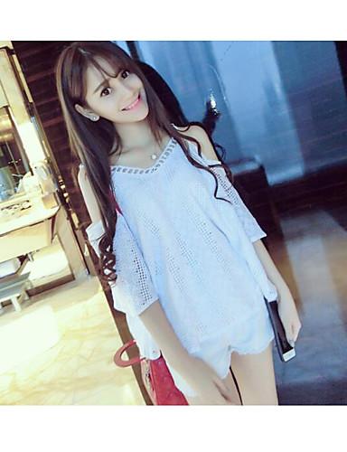 Damen Solide Einfach Lässig/Alltäglich T-shirt,V-Ausschnitt Kurzarm Acryl
