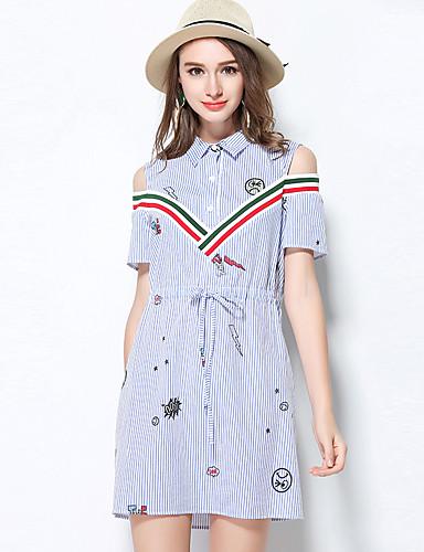 Dámské Pouzdro Šaty Jednobarevné Proužky,Krátký rukáv Do V Nad kolena Akryl Léto Low Rise Neelastické Střední