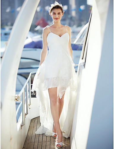 A-Linie V-Ausschnitt Hof Schleppe Chiffon / Spitze Maßgeschneiderte Brautkleider mit Überkreuzte Rüschen durch LAN TING BRIDE® / Schlichte Brautkleider