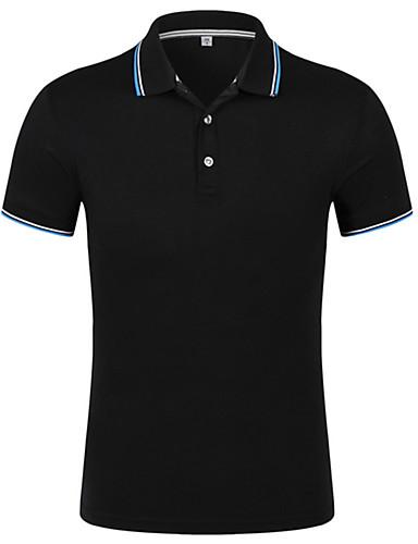 Homens Camiseta - Trabalho Activo Listrado Algodão Colarinho de Camisa