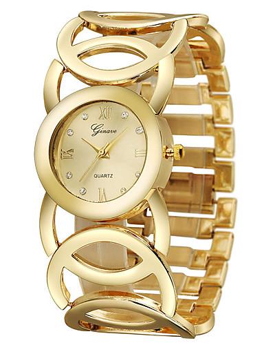 Mulheres Relógio de Pulso Relógio Casual / Legal Aço Inoxidável Banda Rígida Dourada