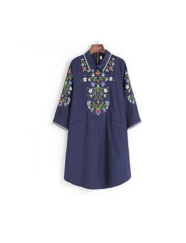 Dámské Jednobarevné Geometrický Klub Čínské vzory Tričko Bavlna Kulatý Tříčtvrteční rukáv