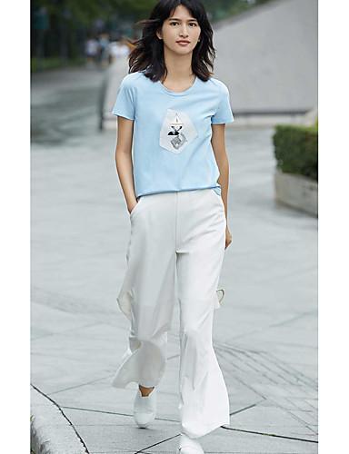 Mulheres Camiseta Simples Sólido / Estampado
