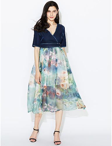 Damen Swing Kleid-Lässig/Alltäglich Street Schick Patchwork V-Ausschnitt Midi Kurzarm Blau Polyester Sommer Mittlere Hüfthöhe