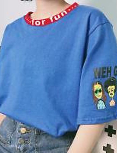 Damen Druck Einfach Lässig/Alltäglich T-shirt,Rundhalsausschnitt ½ Länge Ärmel Baumwolle Dünn