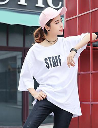 Damen Solide Einfach Ausgehen Lässig/Alltäglich T-shirt,Rundhalsausschnitt Kurzarm Polyester