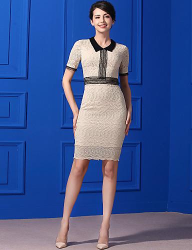 Damen Freizeit Hülle Kleid - Spitze, Solide Knielang Hemdkragen